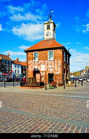 Yarm on Tees, Yarm Town Hall, high street, North Riding Yorkshire, England - Stock Image
