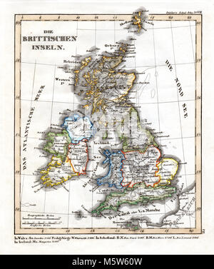 1844 Stieler Map - British Isles - Great Britain & Ireland - England Scotland Wales London Liverpool Dublin - Stock Image