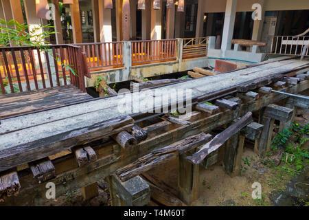 Part of the original death railway, Jeath War Museum and World War II museum, Kanchanaburi, Thailand - Stock Image
