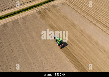 tractor plows the sand in dutch landscape - Stock Image