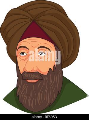 A vector illustration of Ibn al-Haitam Arabian Optician - Stock Image
