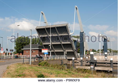 Gouda The Netherlands Open drawbridge on lock gates on the Ijssel River near Gouda. - Stock Image
