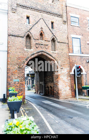 North Bar Beverley fortified arch in town archway entrance to Beverley town Yorkshire UK England - Stock Image