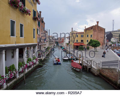 View along the canal in the Santa Croce district: Venice. - Stock Image