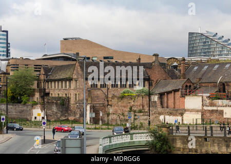 Chethams School of Music, Manchester, viewing the south-west aspect of the grade I listed, fifteenth century College House building. - Stock Image