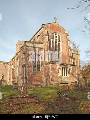 A view of the east end of the parish church of St Mary in South Norfolk at Shelton, Norfolk, England, United Kingdom, Europe. - Stock Image