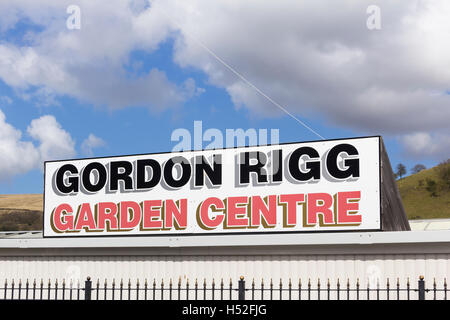 Sign for the Gordon Rigg garden centre, Rochdale Road,  Walsden in Lancashire. Gordon Rigg is a family business. - Stock Image