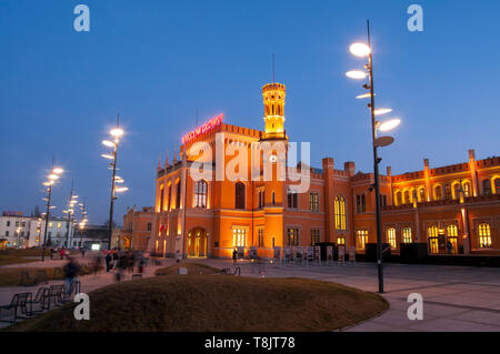 Wroclaw, Poland, Building of the Main Railway Station (Wrocław Głowny) of Wroclaw, Built in the mid-19th century('Breslau Main station') - Stock Image