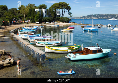 Cap d'Antibes, small harbour, French Riviera, family fun - Stock Image