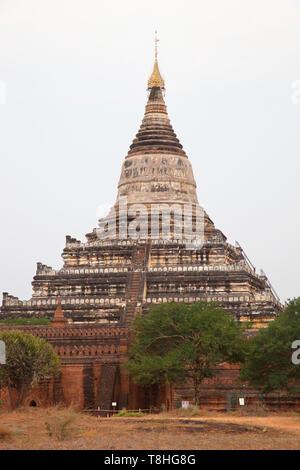 Shwesandaw temple, Old Bagan village area, Mandalay region, Myanmar, Asia - Stock Image