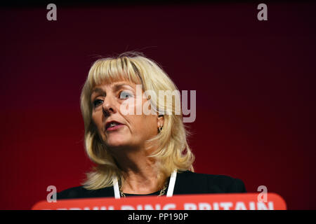 Liverpool, UK. 23rd Sep, 2018. Jennie Formby. Newly elected General Secretary of the Labour Party addressing the Labour Party conference in Liverpool for the first time as General Secretary.of the Labour Party Credit: Della Batchelor/Alamy/Live News - Stock Image