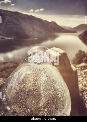 Drinking with a view. - Stock Image