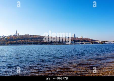 the right bank of the city of Kiev Metro bridge on the Dnieper River Ukraine, Kiev 22.10.2018 - Stock Image