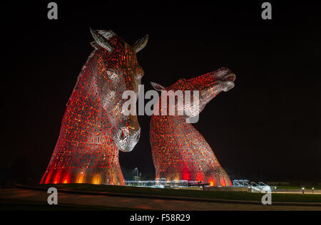 The Kelpies - huge pieces of public art sculptures near Falkirk, Scotland - Stock Image