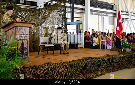 Maj. Gen. Arthur J. Logan, the Hawaii Army National Guard Adjutant General applaud Soldiers from Alpha and Bravo Troops, 1st Squadron, 299th Cavalry Regiment, and elements of the 29th Infantry Brigade Combat Team, both from the Hawaii Army National Guard for their service during their deployment ceremony at the Kalaeloa Army Aviation Support Facility on August 26, 2018. The 1-299th CAV will be deploying to Sinai, Egypt supporting the Multinational Force and Observers while the 29th IBCT will be deploying to Kosovo in support of Multinational Battle Group East Kosovo Forces (KFOR). (U.S. Army N - Stock Image
