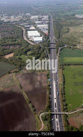 aerial view of the M62 looking west towards towards junction 11 at Birchwood, Warrington - Stock Image