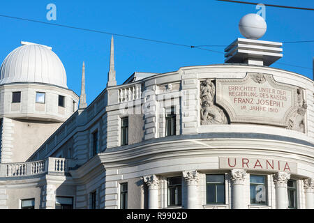 Vienna Urania, designed in 1910 by art nouveau architect Max Fabiani, the Urania building in Vienna now functions as an observatory and a cinema. - Stock Image
