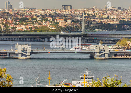 View over the Golden Horn with the Galata Bridge and the Atatürk Bridge in Istanbul - Stock Image