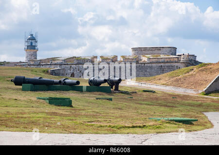 View of an ocean freighter from Morro Castle in Havana Cuba, - Stock Image
