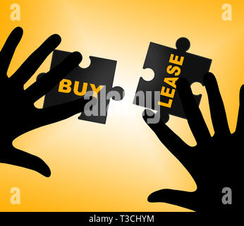 Lease Vs Buy Words Depicting Mortgage To Buy Property Versus Renting. Home Ownership Against Leasing A House - 3d Illustration - Stock Image