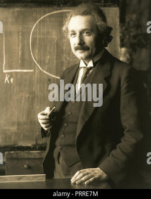 Albert Einstein (14 March 1879 - 18 April 1955) was a German-born theoretical physicist who developed the theory of relativity. - Stock Image