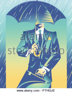 Smart businessman sheltered from rain under umbrella - Stock Image