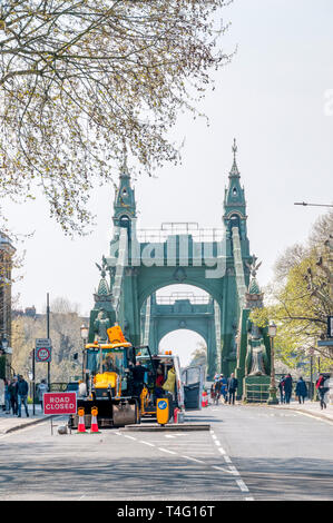 Hammersmith Bridge closed to road traffic for emergency structural repairs in April 2019.  View from north to south. - Stock Image