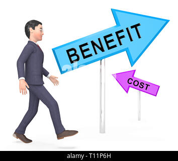 Cost Vs Benefit Signs Mean Comparing Price Against Value. Return On Investment Or Balancing Gain - 3d Illustration - Stock Image