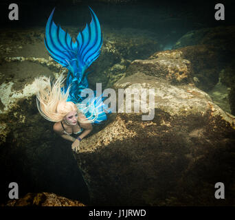 Mermaid in the Salt Springs in Florida, USA - Stock Image