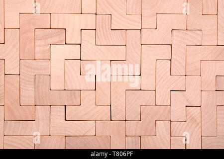 Wooden different shapes blocks background - Stock Image