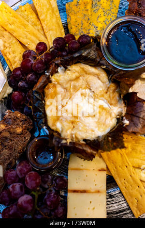 Dessert cheese plate with Castagnino Italian Goat Robiola soft cheese in Chestnut Leaves served with jams and grapes close up - Stock Image