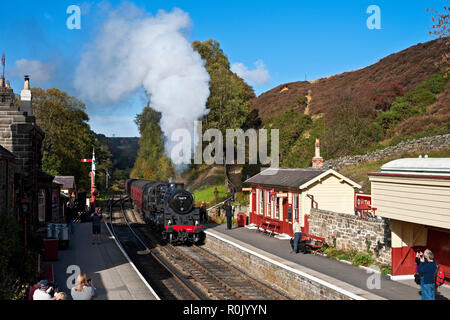 76079 Standard class steam train entering the railway station Goathland North York Moors National Park North Yorkshire England UK Great Britain - Stock Image