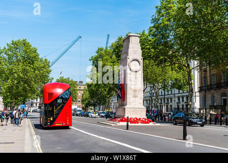 London, UK - May 15, 2019: View of the The Cenotaph in Whitehall. It  is a war memorial in London following the end of the First World War - Stock Image