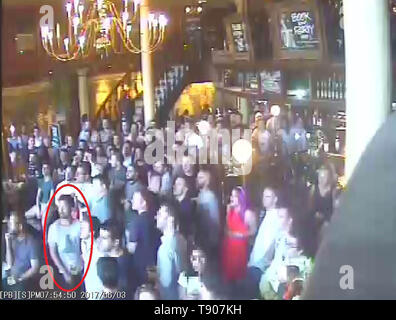 BEST QUALITY AVAILABLE Screengrab taken from CCTV dated 03/06/17 issued by the Metropolitan Police of James McMullan inside the Barrow Boy and Banker pub. An inquest at the Old Bailey head that the 32 year old entrepreneur James McMullan, 32, had been out with friends in the pub watching football on the evening of June 3 2017 when the London Bridge terrorist attack happened. - Stock Image