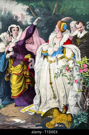 The Rival Queens, Mary Queen of Scots defying Queen Elizabeth I, hand coloured print, Currier & Ives, c. 1857 - Stock Image
