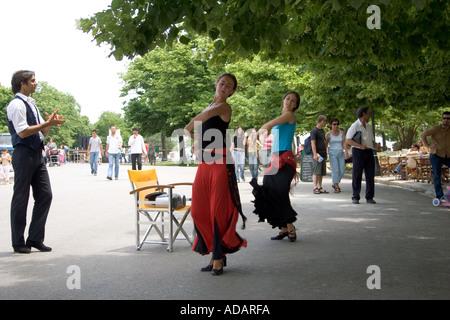 Greek dancers, Greek dance troop,  Kerkyra, Corfu town, Corfu, Europe, European, performing dancer dancing at a - Stock Image