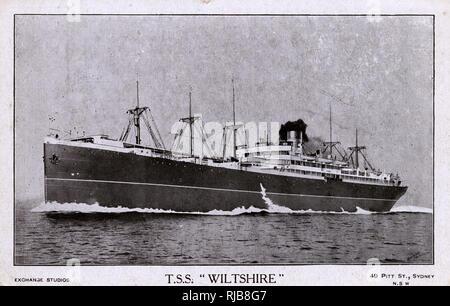 TSS Wiltshire, Australian steamship, Federal Steam Navigation Co. - Stock Image