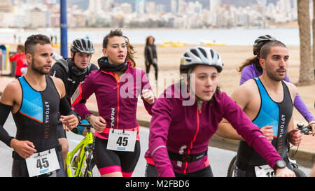 Benidorm, Costa Blanca, Spain, 7th February 2018. French sports retailer Decathlon host a triathlon on Poniente - Stock Image