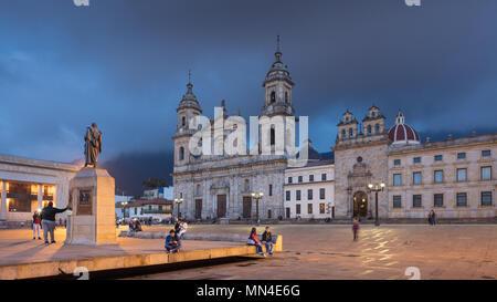 Plaza de Bolivar at dusk, Bogota, Colombia, South America - Stock Image