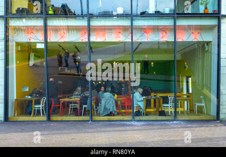 Exterior of the Smeltery Café at the MIMA Art gallery in Middlesbrough - Stock Image