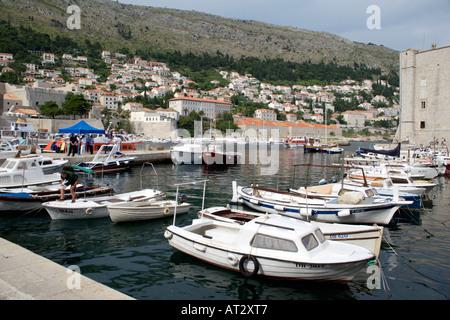 Pleasure boats moored in Dubrovnik harbour,   Dubrovnik, Croatia, Europe, - Stock Image