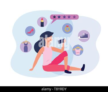 woman with smartphone technology to shopping online vector illustration - Stock Image
