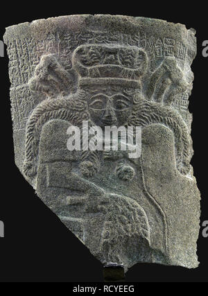 6408. Sumerian Goddess Inanna, goddess of fertility, love, war and justice.  Fragment of stone relief from a Temple in Nippur (Mesopotamia), c. 2500 B - Stock Image