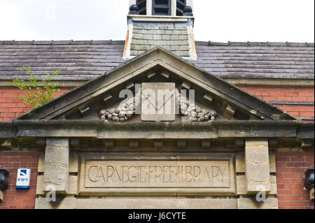 Carnegie Free Library in Newport, South Wales, UK - Stock Image