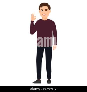 Happy young guy winks and shows gesture okay, cartoon character vector illustration - Stock Image