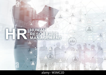 Human resource management, HR, Team Building and recruitment concept on blurred background. - Stock Image