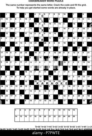 Puzzle page with codebreaker (codeword, code cracker) word game or crossword puzzle. General knowledge, some words already in place, medium level. - Stock Image