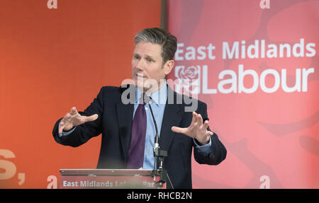 East Midlands Labour Party Conference 2019, Nottingham, Nottinghamshire, England, UK. 2nd. February, 2019. Labour's Shadow Secretary of State for Exiting the European Union Sir Keir Starmer M.P. debating on Brexit and how leaving the European Union would effect the East Midlands economy with party members at the East Midlands Labour Party Conference 2019. Alan Beastall/Alamy Live News - Stock Image