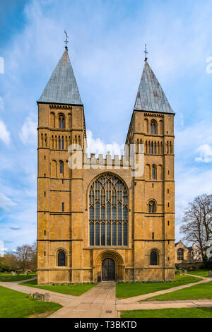 The West Front of Southwell Minster which is the Cathedral Church of Nottinghamshire and dates back to the 11th and 12th centuries. - Stock Image