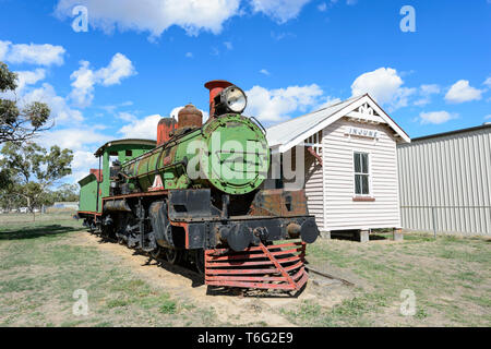 A C17 Class Locomotive at historic Injune Railway Station, 1920-1967, used to service the farming and coal mining industries. South West Queensland, Q - Stock Image